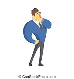 Doubtful Businessman Top Manager In A Suit, Office Job Situation Illustration