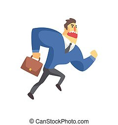 Businessman Top Manager In A Suit Running Late, Office Job Situation Illustration