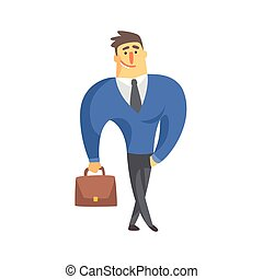 Smiling Businessman Top Manager In A Suit, Office Job Situation Illustration