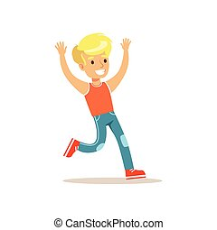 Blond Boy Running, Traditional Male Kid Role Expected Classic Behavior Illustration