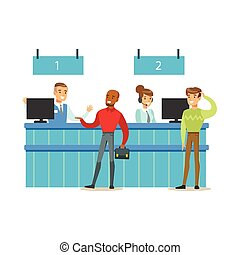 Client Service Counter With Bank Visitors And Workers. Bank...