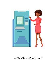 Woman Standing Next To ATM Cash Machine. Bank Service,...