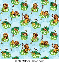 Seamless pattern with funny lion play with butterfly on blue background. Design for children.