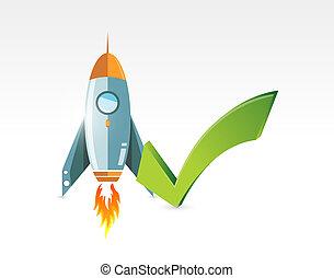 rocket check mark approval concept illustration design...