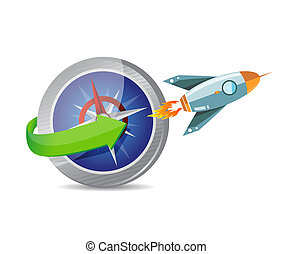 compass and rocket illustration design graphic over white
