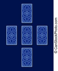 Simple cross tarot spread. Tarot cards back side, vector