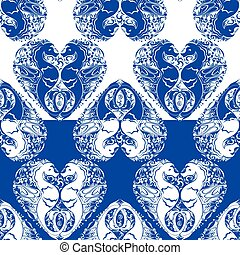 Seamless pattern with heart is made of Couple of seahorses. Two colors, white and blue background. Design for summer season, vacation, travel.