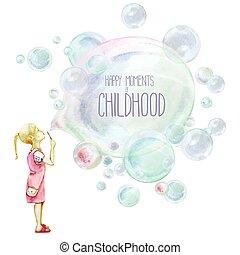 Little girl blowing soup bubbles. Watercolor vector...