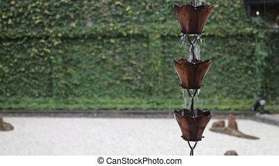 Raining waters way-out in zen garden