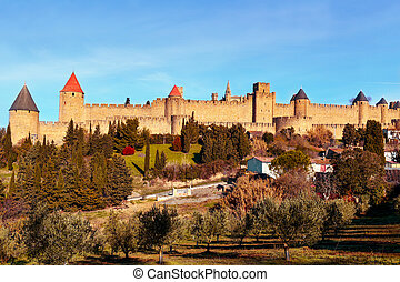 Cite de Carcassonne, in Carcassone, France - a view of the...
