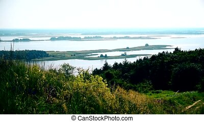 Dnepr river panorama with islands. View from Vitachiv -...