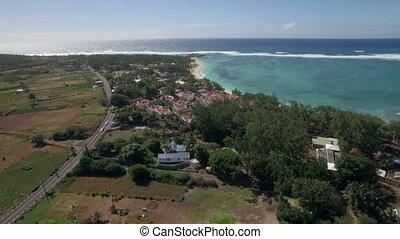 Insel, aus, fliegendes, wasserlandschaft,  mauritius, indische
