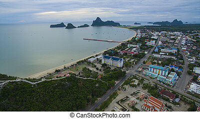 aerial view of prachuapkhirikhan harbor southern of thailand