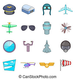 Aviation icons set, cartoon style - Aviation icons set....