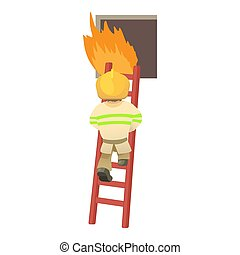 Fireman icon, cartoon style - Fireman icon. Cartoon...