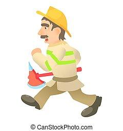 Running firefighter icon, cartoon style