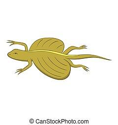 Flying dragon lizard icon, cartoon style - Flying dragon...