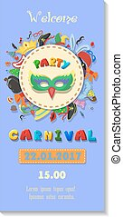 Carnival party poster design. Flyer or invitation template....