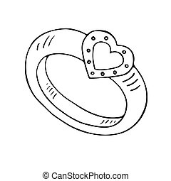 Diamantring gezeichnet  Vektor Clipart von riesig, diamant, karikatur, schwarz, ring ...