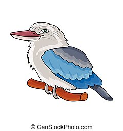 Kookaburra sitting on branch icon in cartoon style isolated...