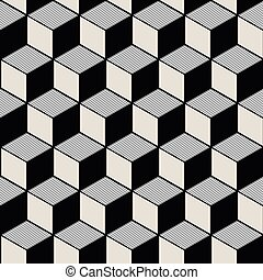 Seamless background image of vintage black white cubic line...