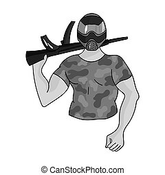 Paintball player icon in outline style isolated on white background. Paintball symbol stock vector illustration.