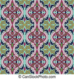 Seamless background image of vintage flower plant vine kaleidoscope pattern.