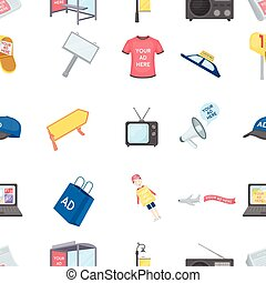Advertising pattern icons in cartoon style. Big collection of advertising vector symbol stock illustration