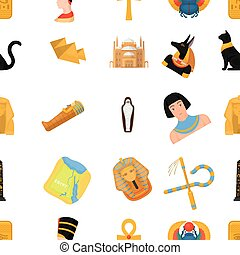 Ancient Egypt pattern icons in cartoon style. Big collection...