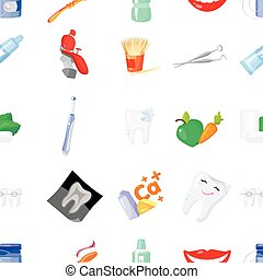 Dental care pattern icons in cartoon style. Big collection of dental care vector symbol stock illustration