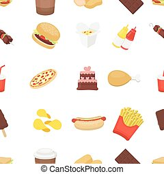 Fast food pattern icons in cartoon style. Big collection...