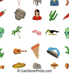 Mexico country pattern icons in cartoon style. Big...