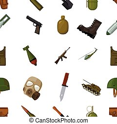 Military and army pattern icons in cartoon style. Big...