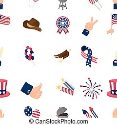 Patriot Day pattern icons in cartoon style. Big collection of Patriot Day vector illustration symbol.