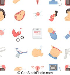 Pregnancy pattern icons in cartoon style. Big collection of pregnancy vector illustration symbol.