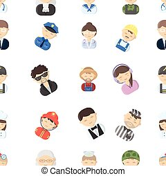 Proffesion pattern icons in cartoon style. Big collection...