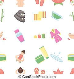 Spa pattern icons in cartoon style. Big collection spa...