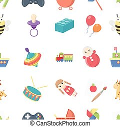 Toys pattern icons in cartoon style. Big collection toys vector symbol stock illustration