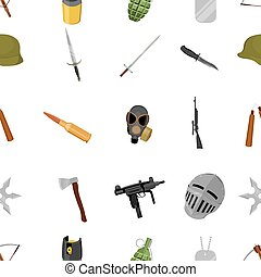 Weapon pattern icons in cartoon style. Big collection weapon...