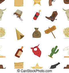 Wild west pattern icons in cartoon style. Big collection...