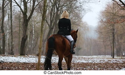 pretty woman posing on horse in winter park