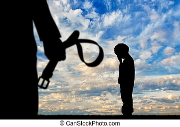Child violence concept - Child violence. Silhouette father...