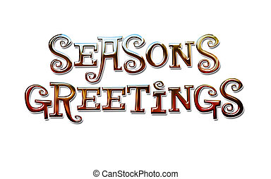 Seasons Greetings Lettering - Graphic of Colorful Chrome...