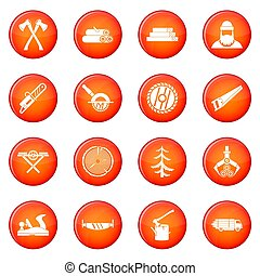 Sawmill icons set of red circles isolated on white...