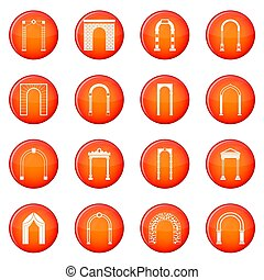 Arch set icons set of red circles isolated on white...