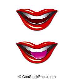 Smiling Mouths Graphic - Illustration of Smiling Mouths with...