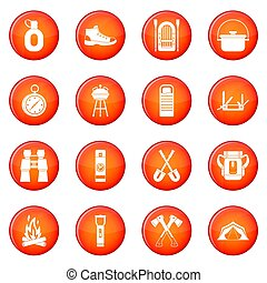 Camping icons set of red circles isolated on white...