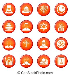 Religion icons set of red circles isolated on white...