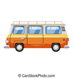 Mini bus icon, cartoon style - Mini bus icon. Cartoon...