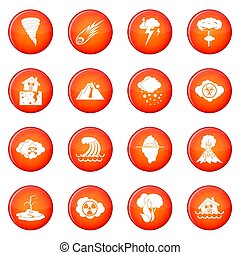 Natural disaster icons set of red circles isolated on white...